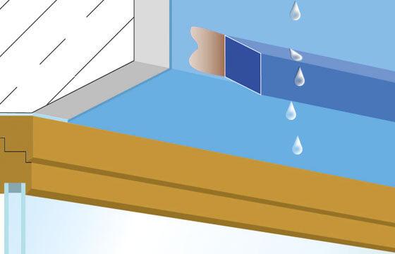 Abtropfprofil oder Wassernase A30 über Fensterlaibung.