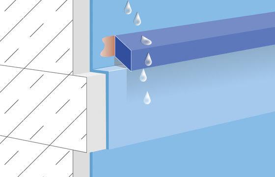 Abtropfprofil oder Wassernase A30 über Deckenschubriss.
