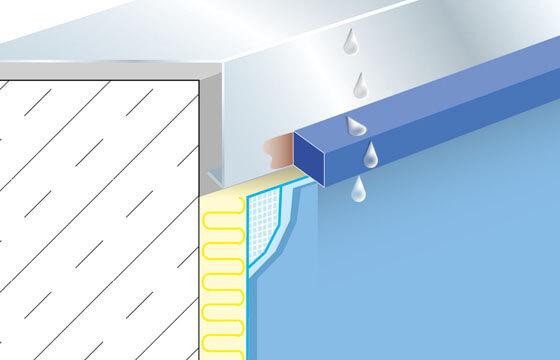 Abtropfprofil oder Wassernase an Attikablech über Wärme-Dämm-Verbund-System (WDVS).