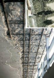 Schäden an Balkonunterseite aus Beton ohne Wassernase bzw. Tropfkante.