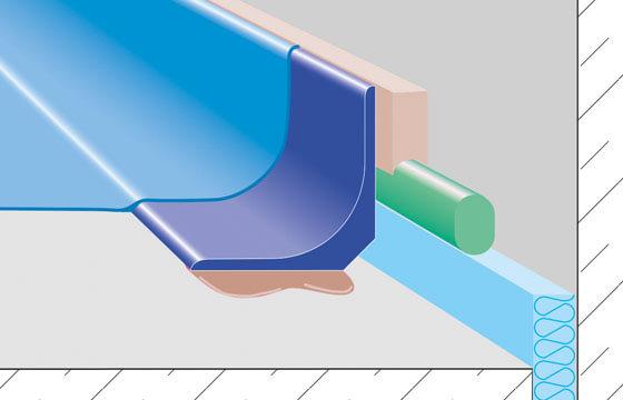 Hohlkehlenprofil H50/50 mit Fugenausbildung nach DIN 18540.