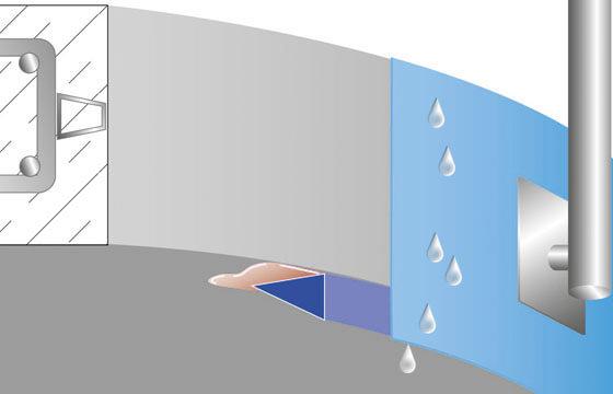 Tropfkantenprofil T3-Flexibel an gerundeten Bauteilen.