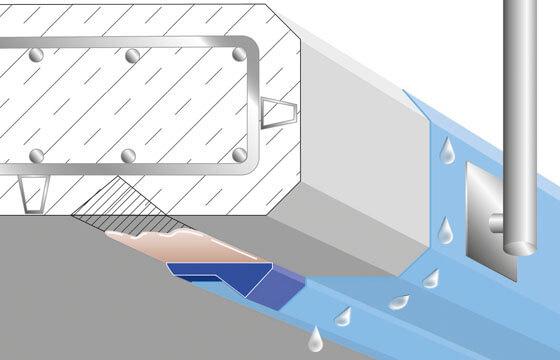 Tropfkante T4 über verschlossener Wassernase.
