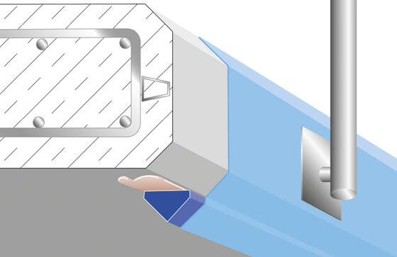 Tropfkantenprofil direkt an Fase oder Kante geklebt.