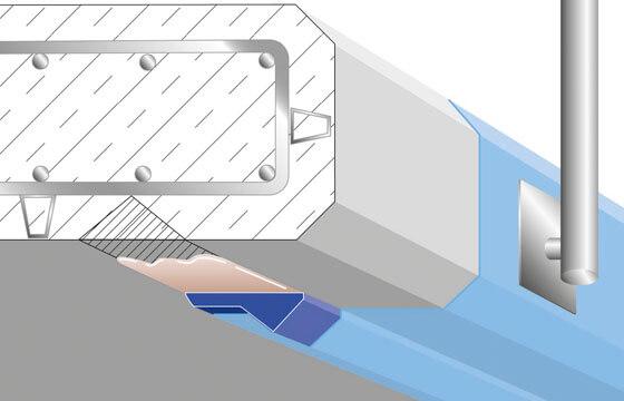 Tropfkantenprofil speziell für die Sanierung von vorhandenen Wassernasen. Erhöht die Betonüberdeckung.